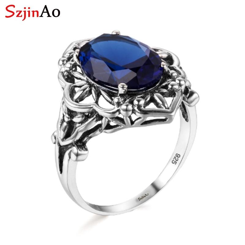 [해외]Szjinao Wholesale Trendy  Victorian Dark Sapphire Ring 925 Sterling Silver Jewelry for Women Wedding Party Wholesale/Szjinao Wholesale Trendy  Vic
