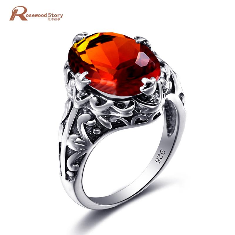 [해외]Valentine`s Day Gift Brown Amber Stone Authentic 100% 925 Sterling Silver Ring For Women Wedding Birthstone Ring Fashion Jewelry/Valentine`s Day G