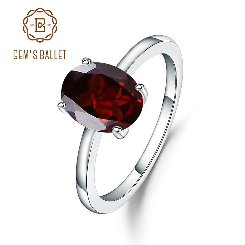 [해외]Gem`s Ballet New 2.21Ct Oval Natural Red Garnet Gemstone Rings For Women Party Genuine 925 Sterling Silver Wedding Trendy Ring/Gem`s Ballet New 2.