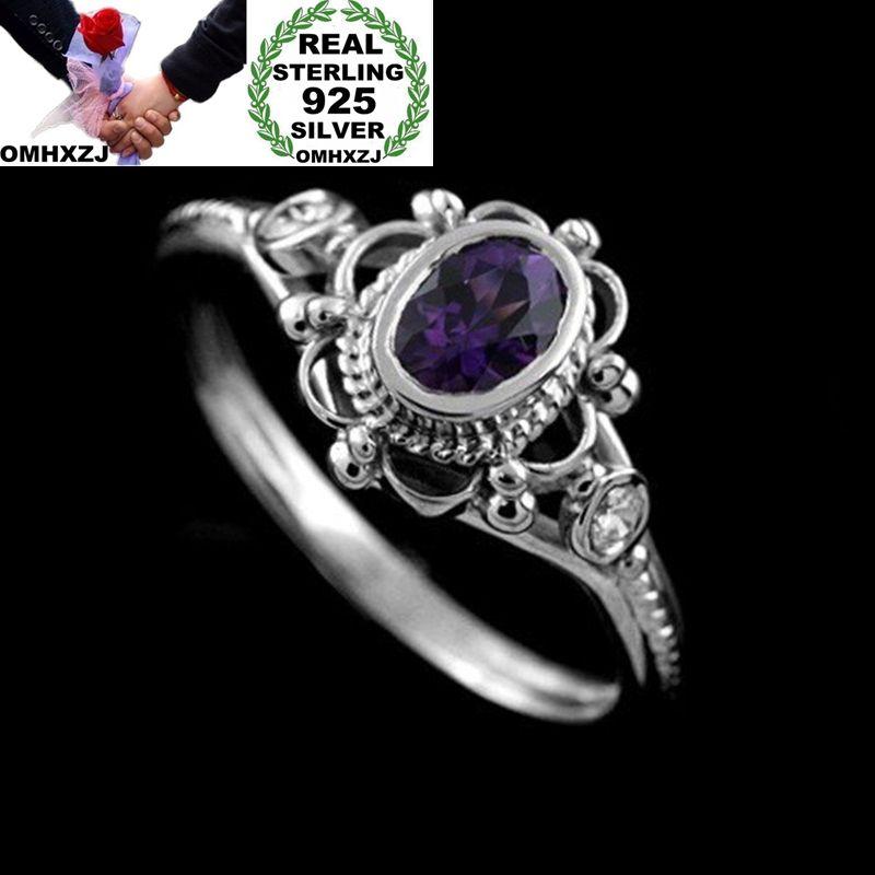 [해외]OMHXZJ Wholesale European Fashion Woman Man Party Wedding Gift Silver Oval Red Purple Amethyst AAA Zircon Taiyin Ring RR325/OMHXZJ Wholesale Europ