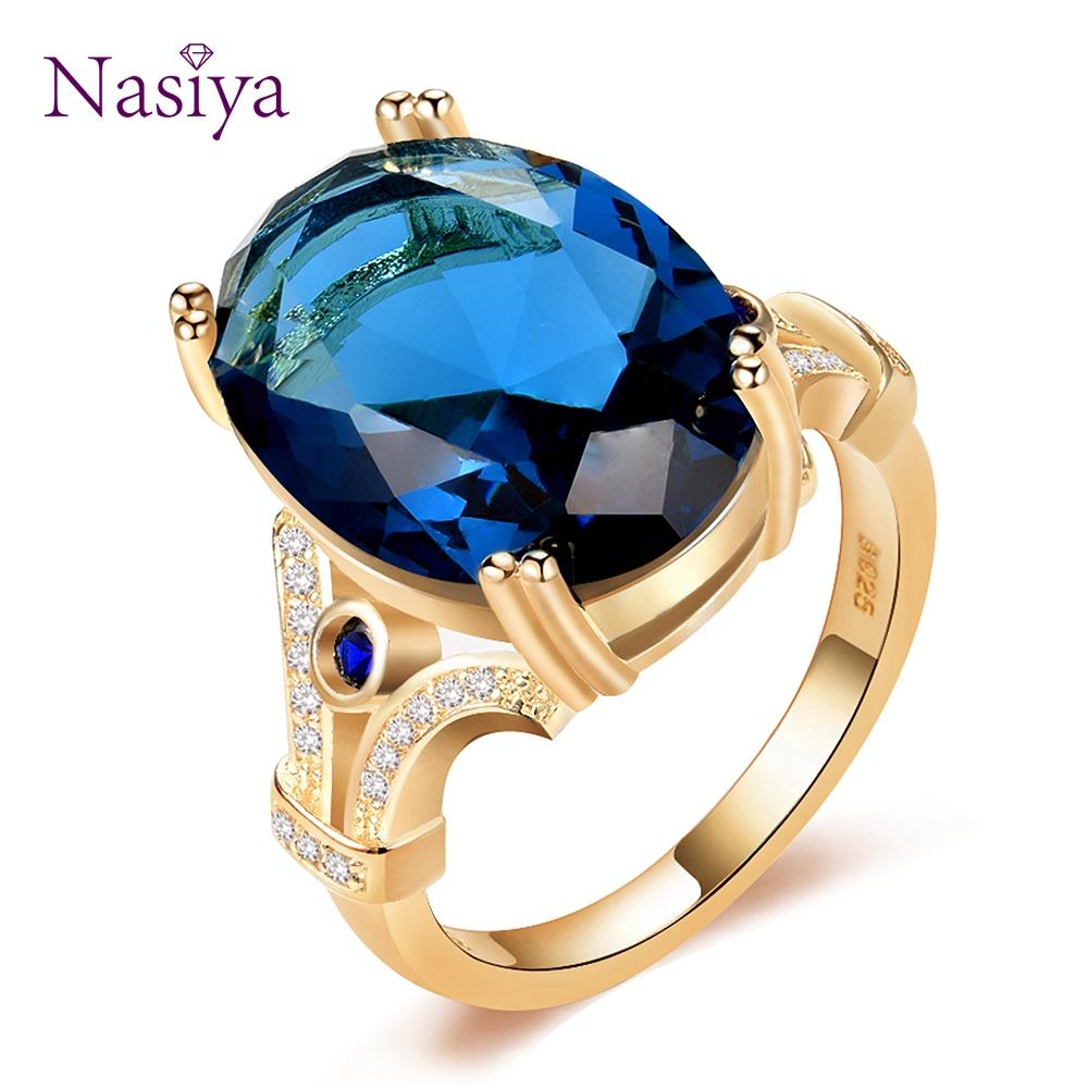 [해외]Nasiya 새로운 디자인 원래 손가락 반지 13x18mm 큰 아쿠아 마린 돌 패션 925 보석 반지와 황금 컬러 반지 도매/Nasiya 새로운 디자인 원래 손가락 반지 13x18mm 큰 아쿠아 마린 돌 패션 925 보석 반지와 황금 컬러 반지