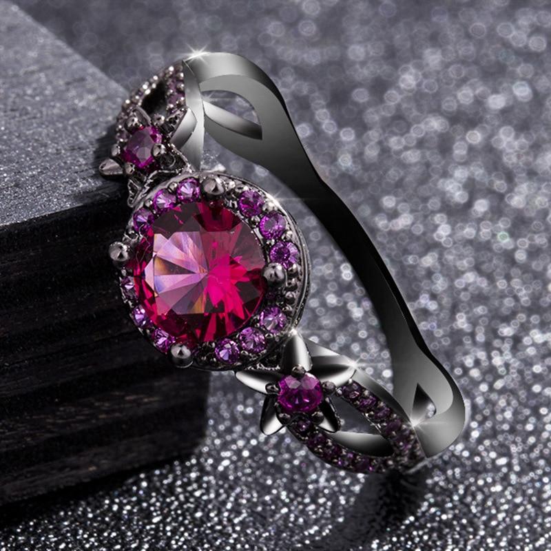 [해외]14K Gold Black Coloured Ruby Rings Anillos De Bizuteria Diamond Ring for Bague Etoile Women Jewelry Jade Diamante Obsidian Rings/14K Gold Black Co