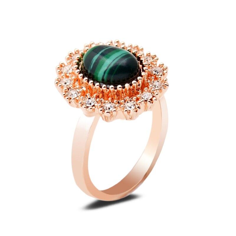 [해외]Natural Malachite Stone Setting Green Pink Jasper Lapis Lazuli Gemstone Gold Silver Ring Crystal Rhinestone Finger Ring Women/Natural Malachite St