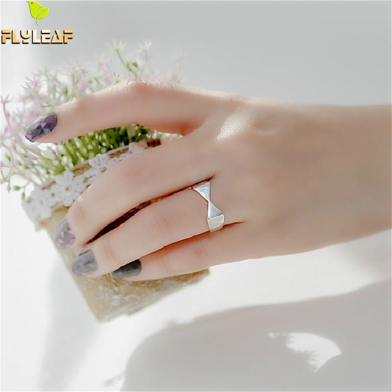 [해외]Flyleaf 925 Sterling Silver Rings For Women Geometric Frosted Bow Femme Fashion Fine Jewelry Simple Open Ring /Flyleaf 925 Sterling Silver Rings F