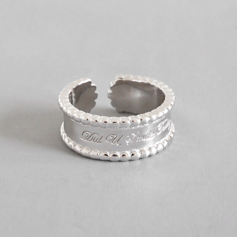 [해외]925 sterling silver Rings jewelry Did u smile today Letter 7.7mm Lace Arc Circle Wedding Bands Rings white gold color/925 sterling silver Rings je