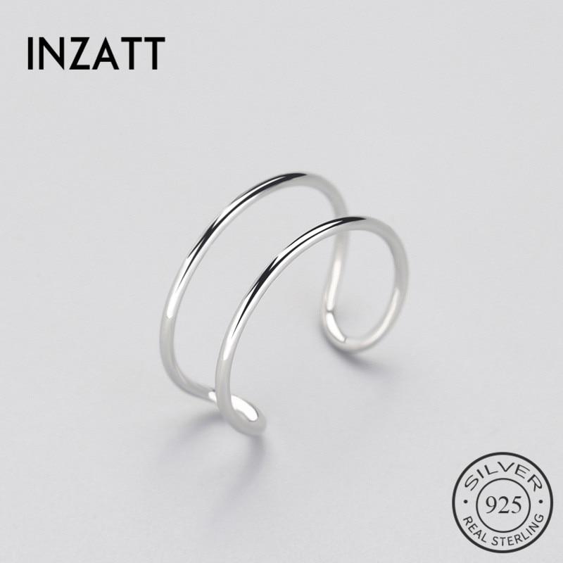[해외]INZATT Minimalist Geometric Double line Adjustable Ring Genuine 925 Sterling Silver Trendy Fine Jewelry For Charm Women Bijoux/INZATT Mi