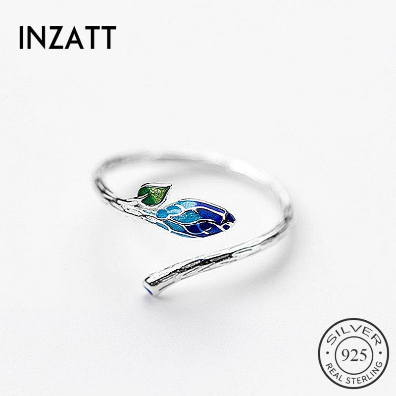 [해외]INZATT Vintage Charm 925 Sterling Silver Color Gradient Enamel Bud Plant Adjustable Ring Fine Jewelry For Women Personality Gift/INZATT