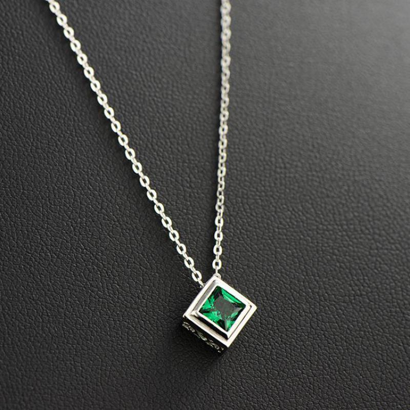 [해외]925 Sterling Silver Green Crystal Pendant Chokers Necklaces For Women Natural Gemstone Square Shaped Womens Necklaces/925 Sterling Silver Green Cr
