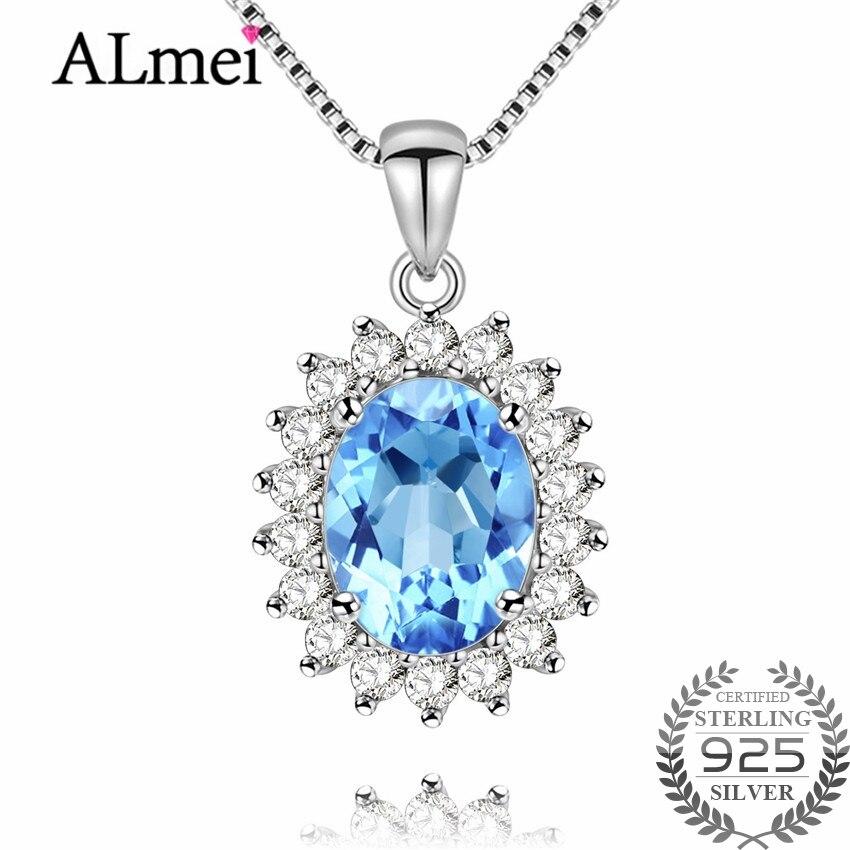 [해외]Almei Princess Natural Blue Topaz Halo Pendant Solid 925 Sterling Silver Charm Fine Jewelry for WomenFree Box 40% FN018/Almei Princess Natural Blu