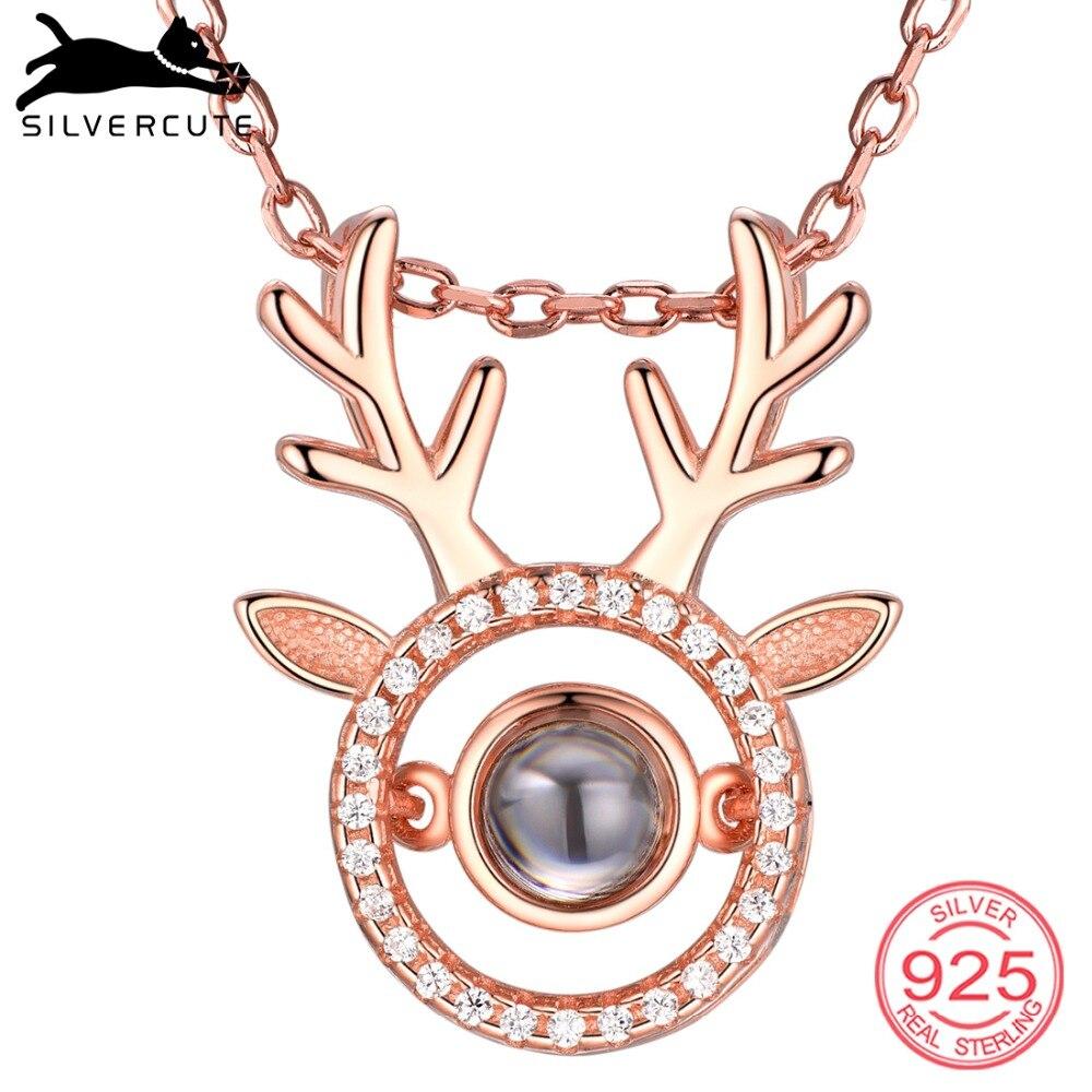 [해외]SILVERCUTE Deer Antlers Custom Necklace I Love You in 100 Languages 925 Sterling Silver Nano Engraved Name Jewelry SCIP6510B/SILVERCUTE Deer Antle
