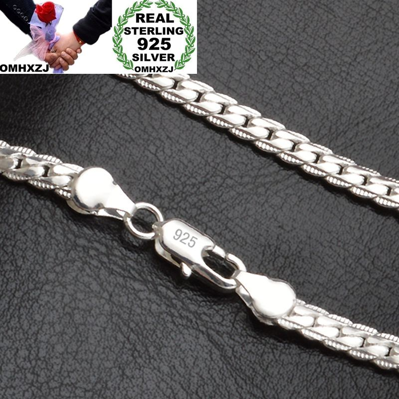 [해외]OMHXZJ Whole Personality Fashion OL Woman Girl Gift Silver 5MM Full Lateral Chain 925 Sterling Silver Chain Necklace NC187/OMHXZJ Whole