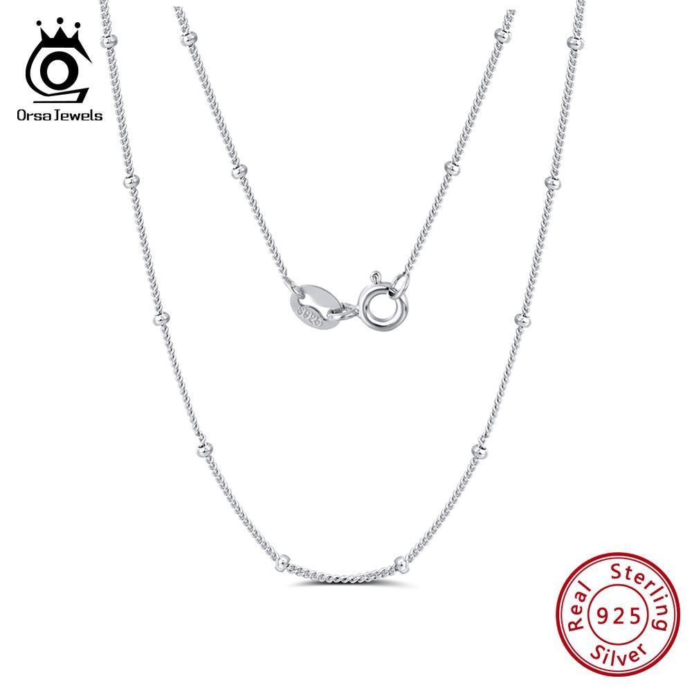 [해외]ORSA JEWELS Pure 925 Side Chain With Small Ball 45CM Length Chain Simple Fashion Women Sterling Silver Jewelry Accessory SC22/ORSA JEWEL