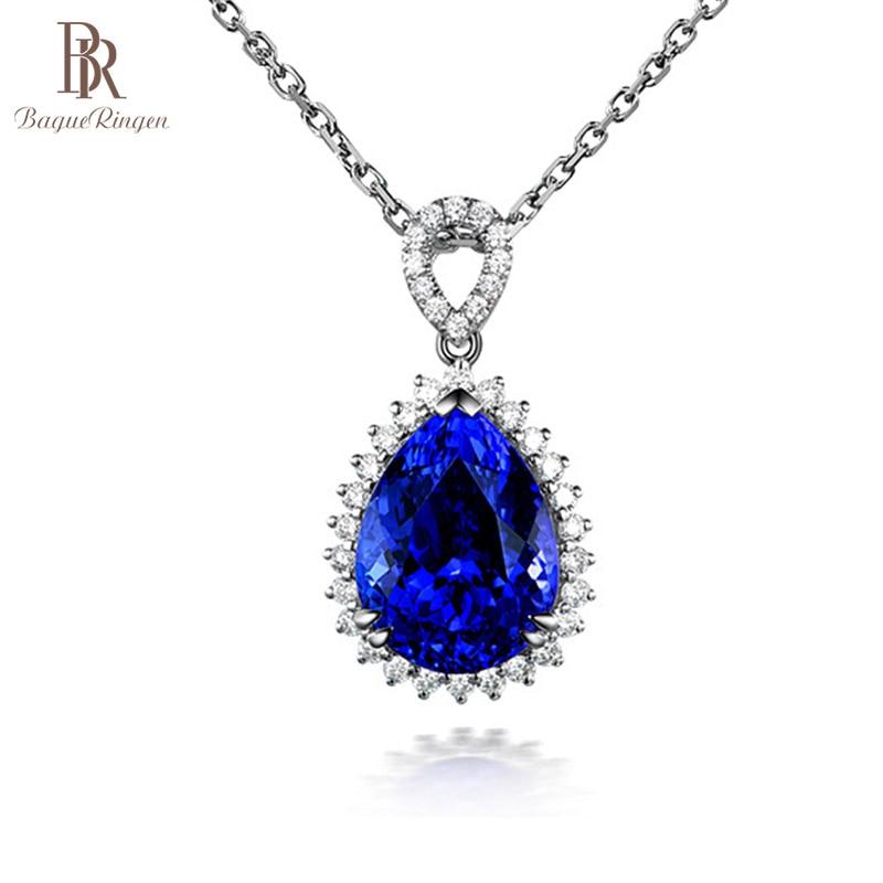 [해외]Bague Ringen Luxury Water Drop Shaped Gtone Pendant Sapphire Necklace for Women Silver 925 Jewelry Engagement Party Banquet/Bague Ringen