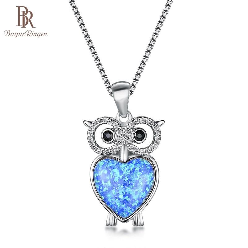 [해외]Bague Ringen Lovely Cute Owl Pendant Necklace for Women White Blue Opal Animal Silver 925 Jewelry Gtones Rose Gold Color Gift/Bague Ring