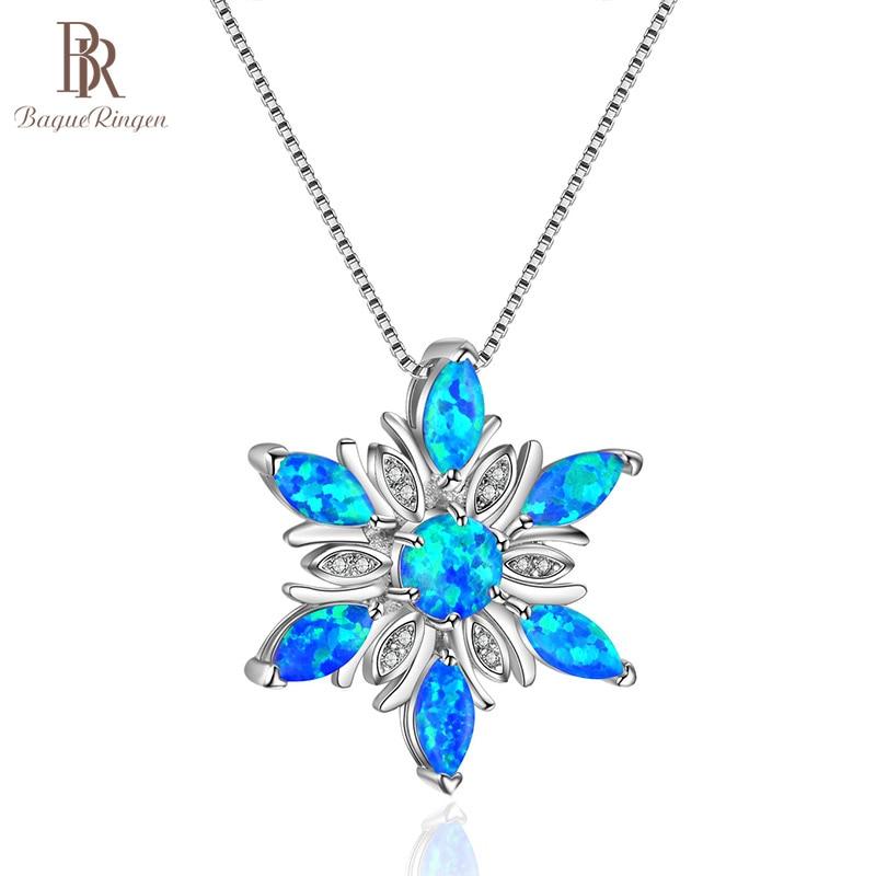[해외]Bague Ringen Fashion 3 colors Opal Silver 925 Jewelry Gtones Pendant Necklace for Women Blue White Pink Dating Female Gift/Bague Ringen