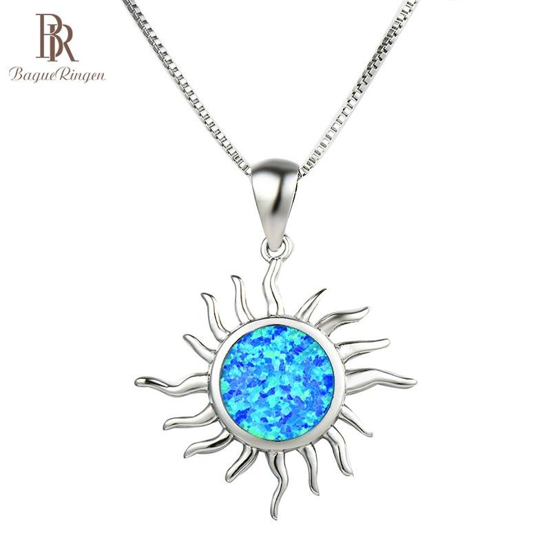 [해외]Bague Ringen Round Opal Sun Pendant Necklace for Women Silver 925 Jewelry Gtones White Blue Delicate Accessory Gift Whole/Bague Ringen R
