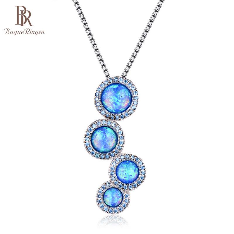 [해외]Bague Ringen Trendy Round Opal White Blue Necklace for Women Silver 925 Jewelry Purple Gtones Circular Pendant Engagement/Bague Ringen T