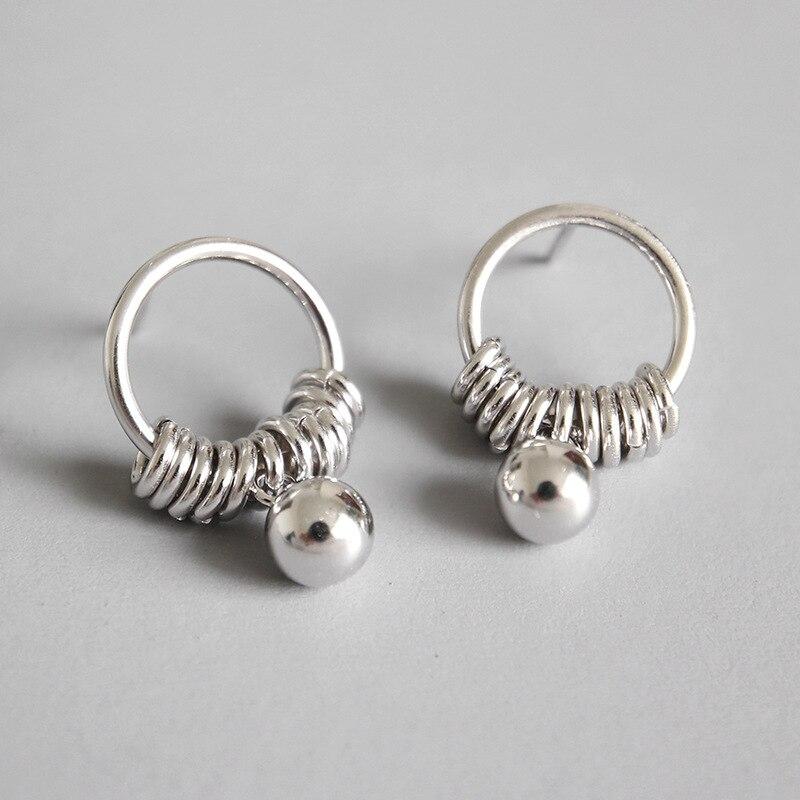 [해외]925 sterling silver earrings jewelry Hollow circle ball tassel Drop Earrings white gold color/925 sterling silver earrings jewelry Hollow circle b