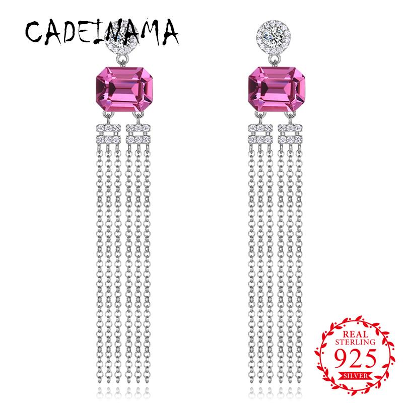 [해외]CADEINAMA Women Solid 925 Sterling Silver Drop Earrings Austria Crystal Girl Tassels Long Earrings Office Fine Jewelry Party New/CADEINAMA Women S