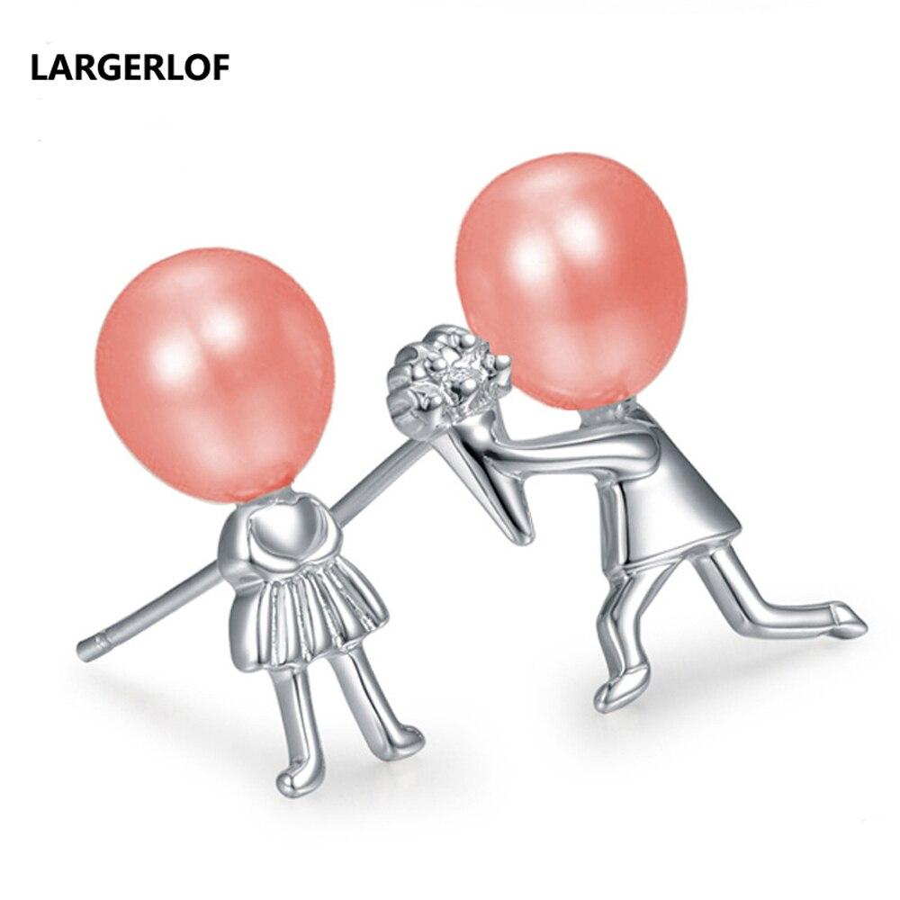[해외]LARGERLFO Fashion Women Pearl Earrings Trendy 925 Sterling Silver Earrings Stud earrings For Girl Earings pearl zz009-16/LARGERLFO Fashion Women P