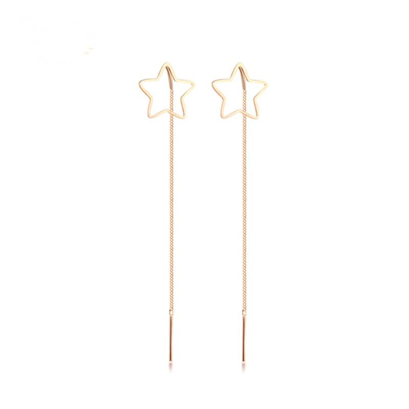 [해외]VOJEFEN Fine 18K Gold Hollow Five-pointed Star Charm Long Tassel Dangle Earring Star long tassel Drop Earrings For Women 2019/VOJEFEN Fine 18K Gol