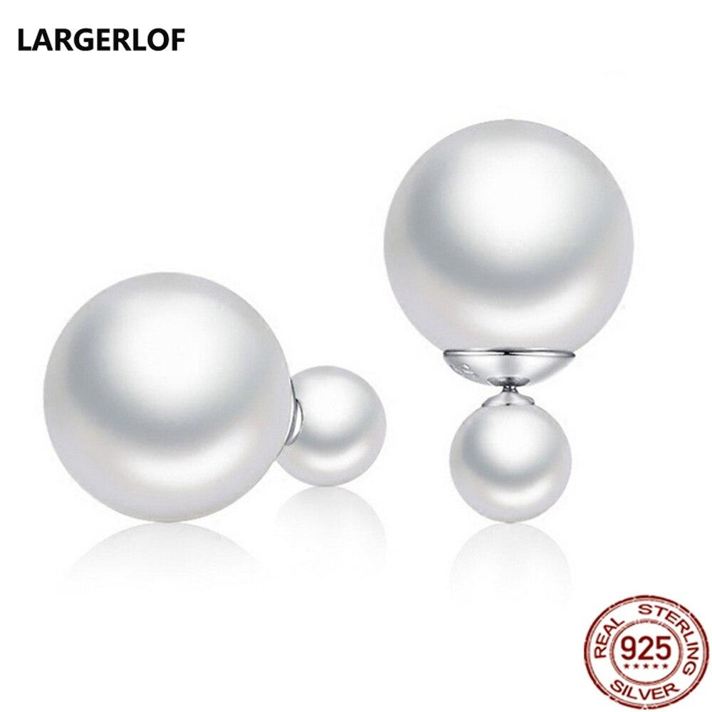 [해외]LARGERLOF Pearl Earrings double sided earring 2019 Fashion Women 925 Silver Earrings earing For women zz005--9/LARGERLOF Pearl Earrings double sid