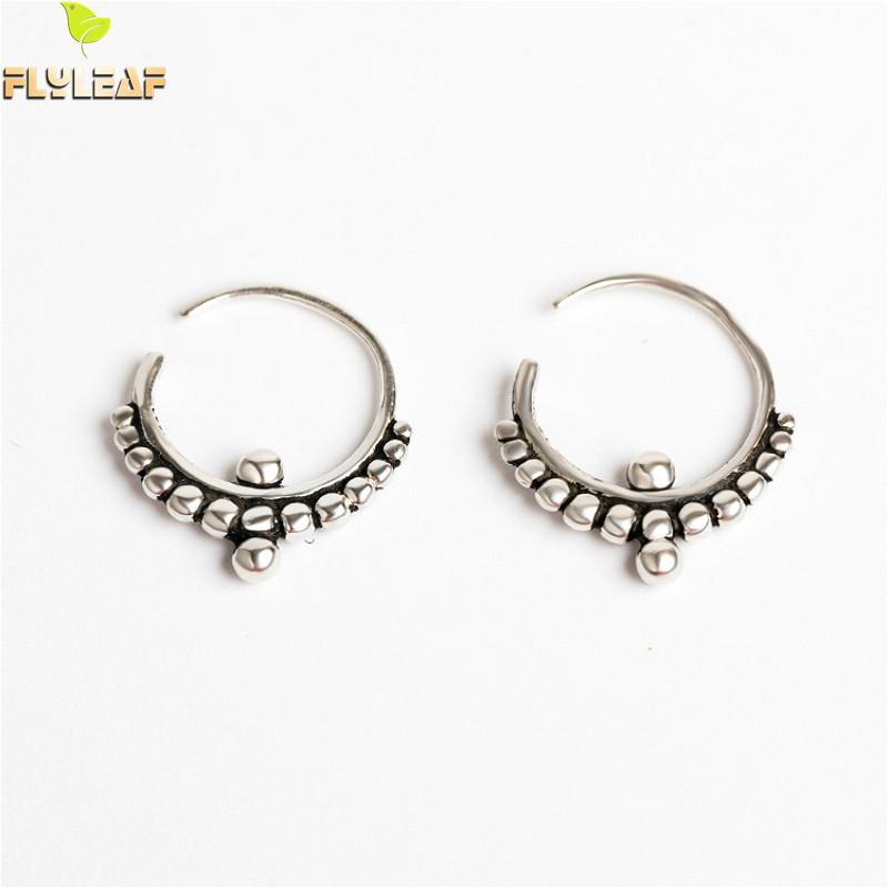 [해외]Flyleaf 925 Sterling Silver Circle Bead Hoop Earrings For Women  Vintage Simple Earings Fashion Jewelry High Quality/Flyleaf 925 Sterlin