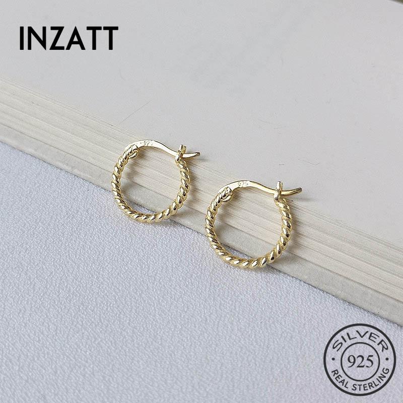 [해외]INZATT Real 925 Sterling Silver Geometric Minimalist Round Hoop Earrings For Fashion Women Party Trendy Fine Jewelry Accessories/INZATT