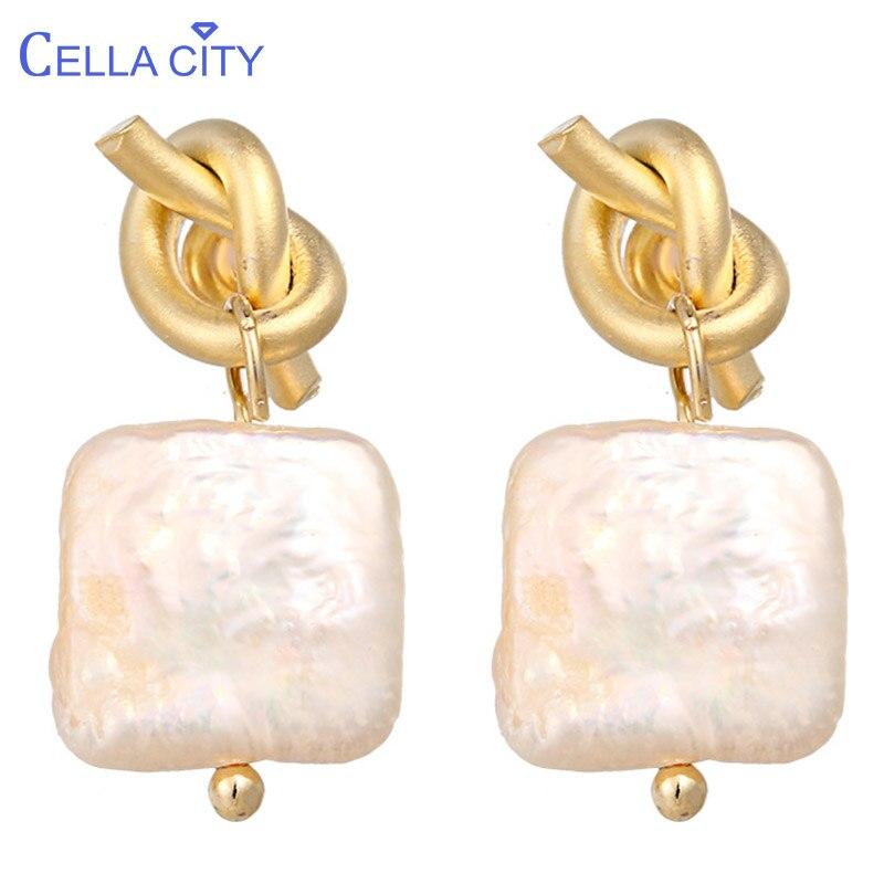 [해외]Cellacity Geometry Natural Freshwater Pearl Earrings for Women Matte light Knot Silver 925 Jewelry Delicate Ear drops Party Gift/Cellaci