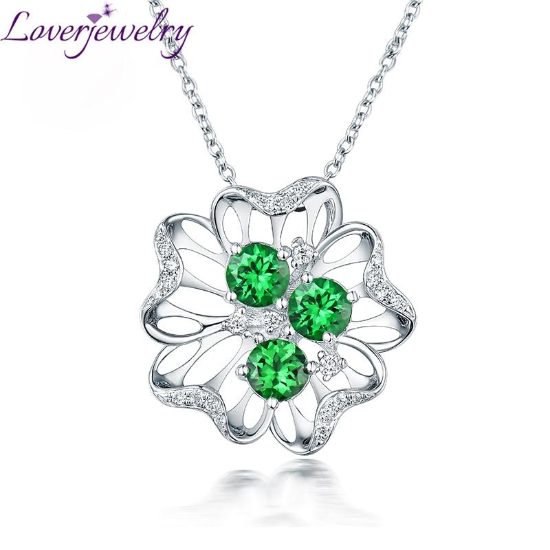 [해외]Romantic New Solid 18Kt White Gold Diamond Tsavorite Necklace Pendant Flower Shape for Girlfriend Birthday Jewelry Gift WP092E/Romantic New Solid