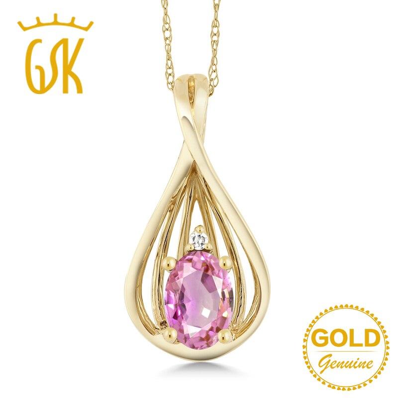 [해외]GemStoneKing 0.55 Ct Oval Natural Pink Sapphire Diamond 10K Yellow Gold Pendant Necklace For Women Fine Jewelry/GemStoneKing 0.55 Ct Oval Natural