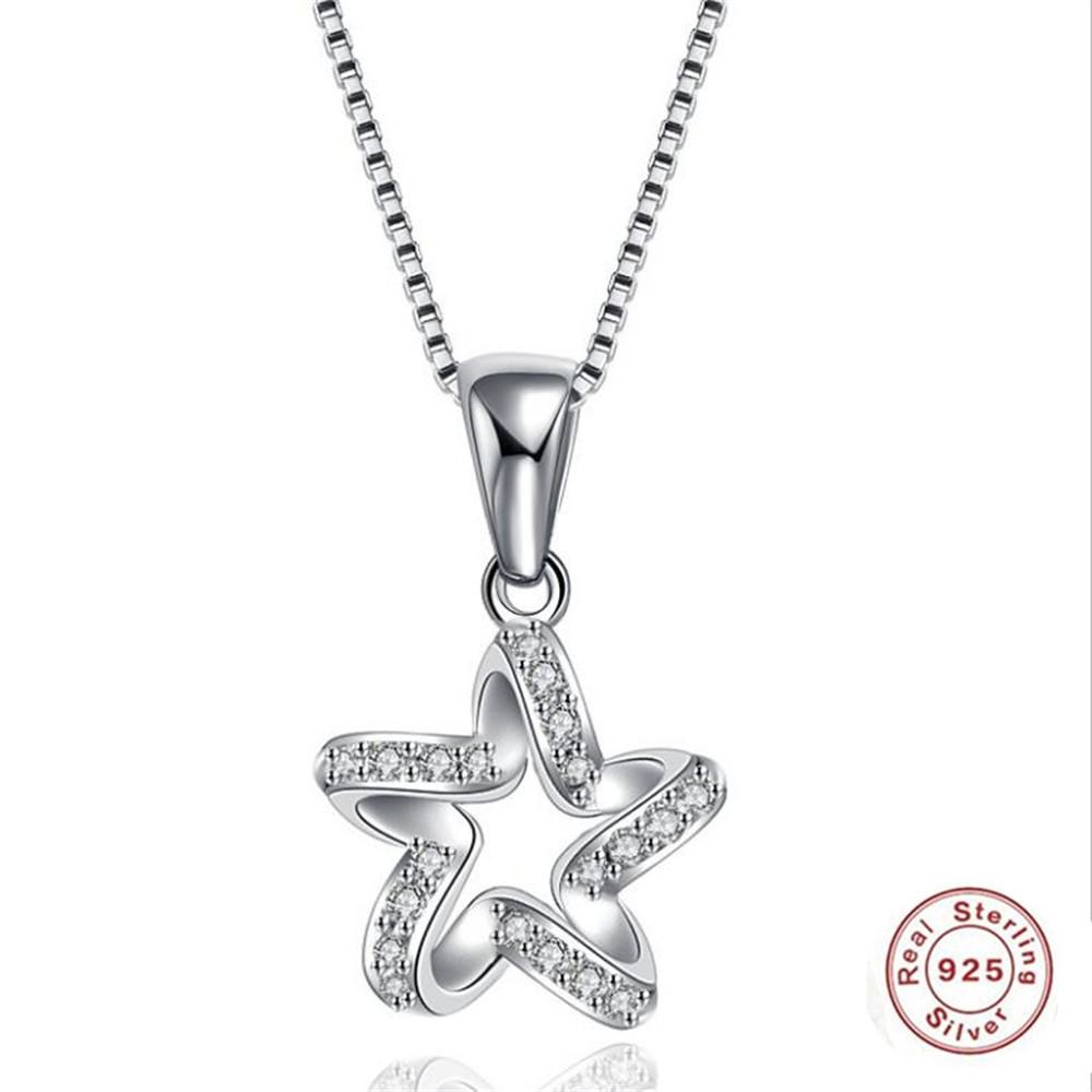 [해외]2019 YKNBPH Women`s S925 Sterling Silver Creative Personality Pentagon Pendant InlaidZircon Fine Jewlery Silver Chain/2019 YKNBPH Women`s S925 Ste