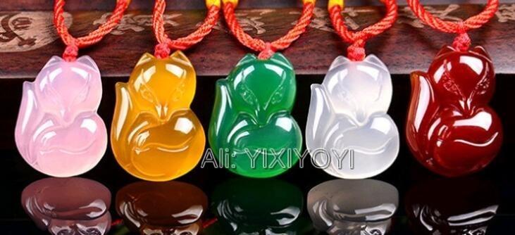 [해외]아름다운 중국어 자연 흰색 녹색 붉은 마노 옥 조각 귀여운 여우 럭키 축복 펜던트 + 로프 목걸이 파인 쥬얼리