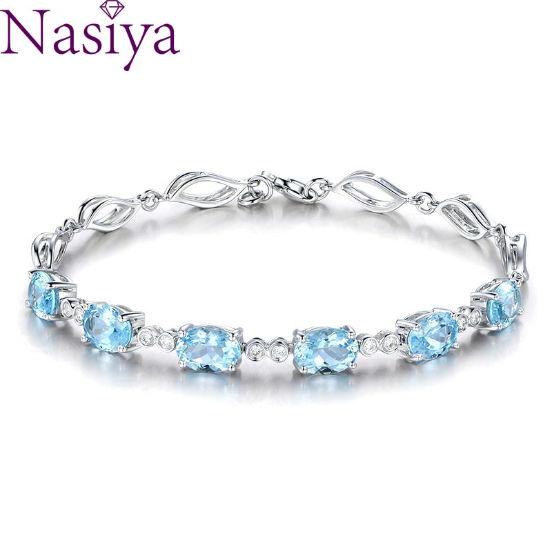 [해외]Aquamarine Bracelets For Female Real 925 Sterling Silver Sky Blue Gtone Bracelet For Student Birthday Gift/Aquamarine Bracelets For Fema