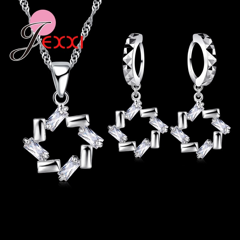 [해외]Romantic Fashion 925 Sterling Silver Hollow Crystal Flower Necklace Earring Bride Wedding Jewelry Sets/Romantic Fashion 925 Sterling Sil