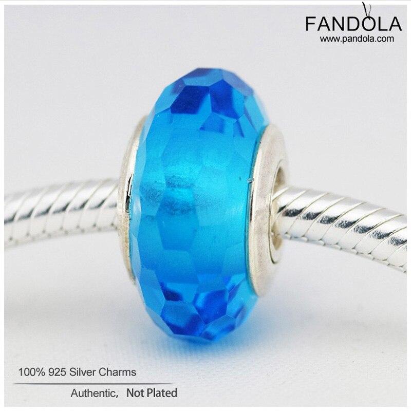 [해외]Murano Glass Charms Bead 925 Sterling Silver Aqua Fascinating Faceted Beads Fine Jewelry Making for DIY Charms Bracelet/Murano Glass Charms Bead 9