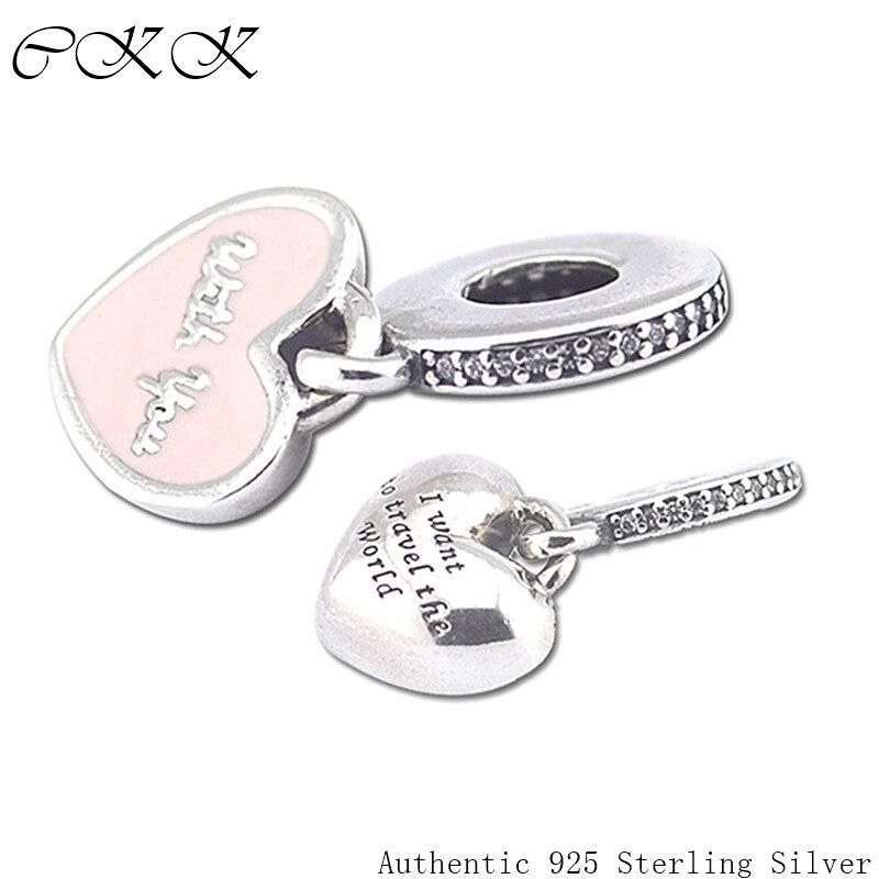 [해외]100% 925 Sterling Silver Heart Dangle CharmsI Want Travel the Word For Jewelry Making Fit Bracelets DIY FL241/100% 925 Sterling Silver Heart Dangl