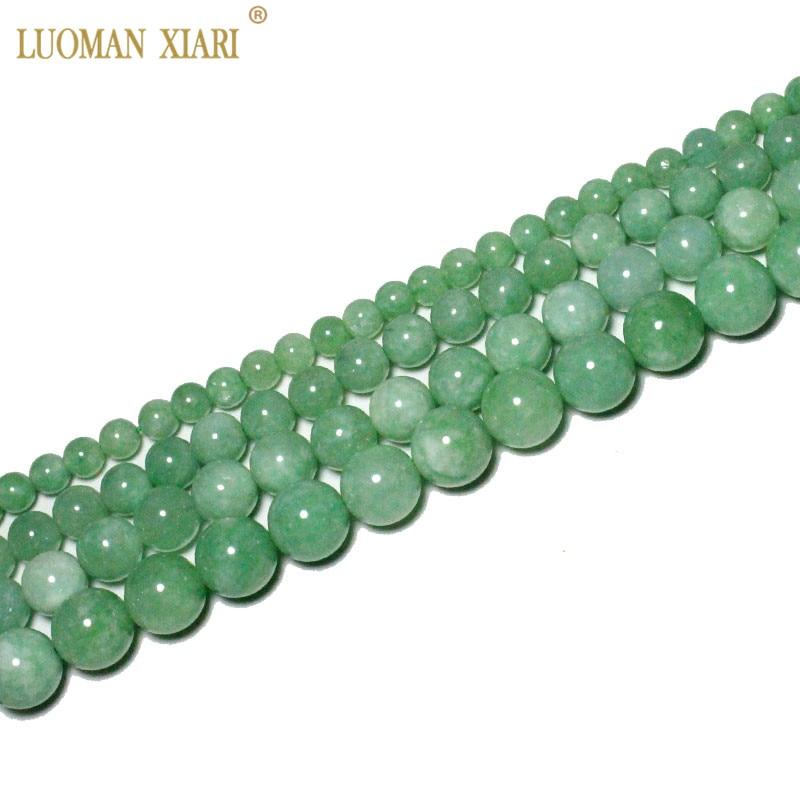 [해외]Fine AAA 100% Natural Burmese Green Jade Round Stone Beads For Jewelry Making DIY Bracelet Necklace 6/8/10/12 mm Strand 15/Fine AAA 100%