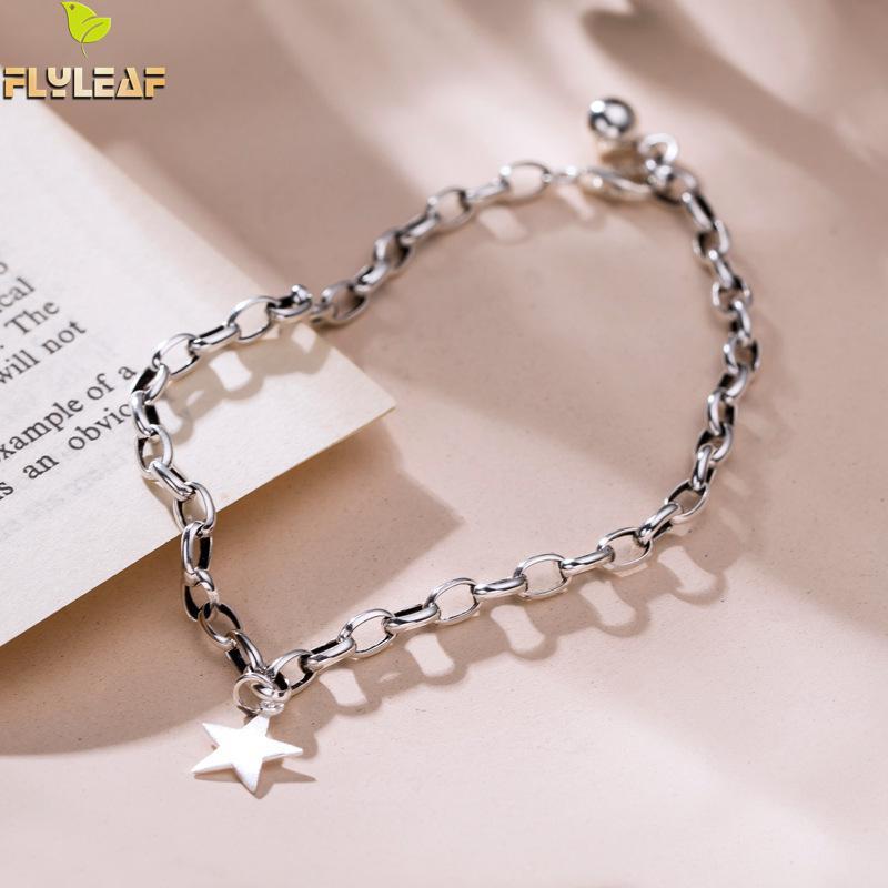 [해외]Flyleaf pentagram 빈티지 체인 여성을위한 진짜 925 스털링 실버 발목 발 팔찌에 좋은 보석 anklets enkelbandje