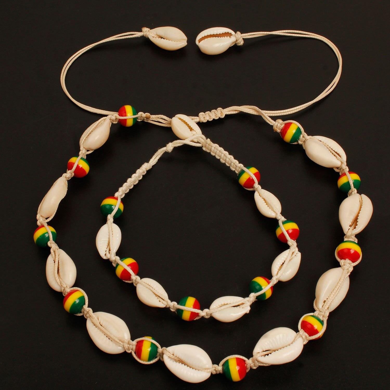 [해외]Cross Border Accessories New Style Handmade Braided Rope Colorful Beads Shell Pendant Europe And America Popular Beach Anklet Wh/Cross B