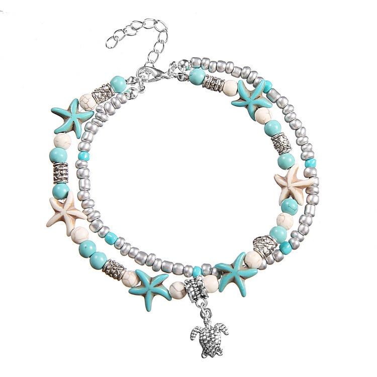 [해외]JL002 Europe And America Fashion Double Layer Anklet Conch Starfish Bead Yoga Beach Turtle Pendant Anklet Bracelets/JL002 Europe And Ame