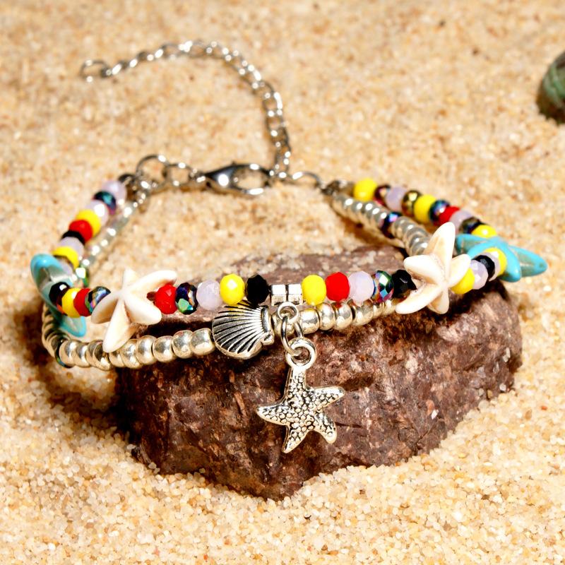 [해외]Stride into Summer Hot s Crystal Anklet Double Layer Starfish Beach Turtle Pendant Womens Retro Bracelets/Stride into Summer Hot s Cryst