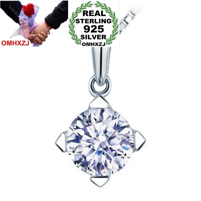 [해외]OMHXZJ Wholesale Fashion Classic OL Woman Gift White Brilliant Zircon 925 Sterling Silver Pendant Charms PE146 NO Chain Necklace/OMHXZJ Wholesale