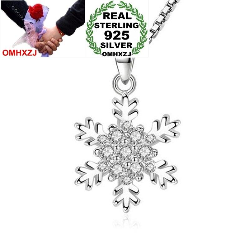 [해외]OMHXZJ Wholesale Fashion Snowflake Woman Christmas Gift White Zircon 925 Sterling Silver Pendant Charms PE143 NO Chain Necklace/OMHXZJ Wholesale F