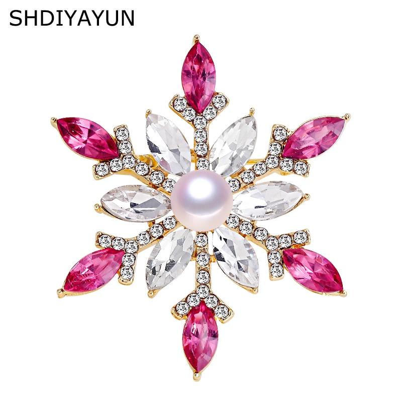 [해외]Shdiyayun 2019 진주 브로치 자연 담수 진주 눈송이 브로치 여성을위한 간단한 핀 웨딩 쥬얼리 여성 액세서리