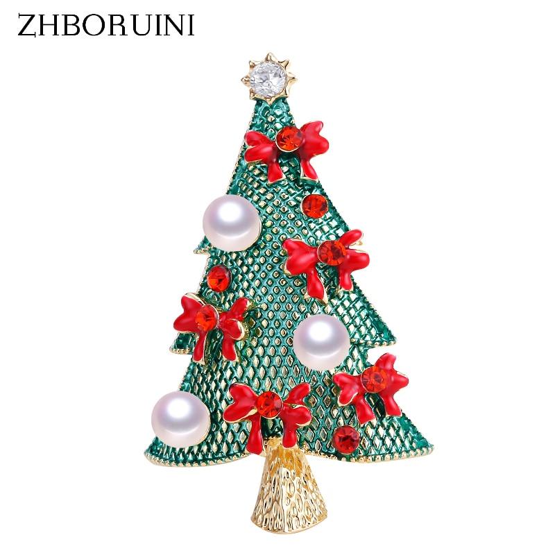[해외]Zhboruini 2019 천연 진주 브로치 크리스마스 트리 진주 breastpin 담수 진주 보석 여성을위한 크리스마스 선물 액세서리