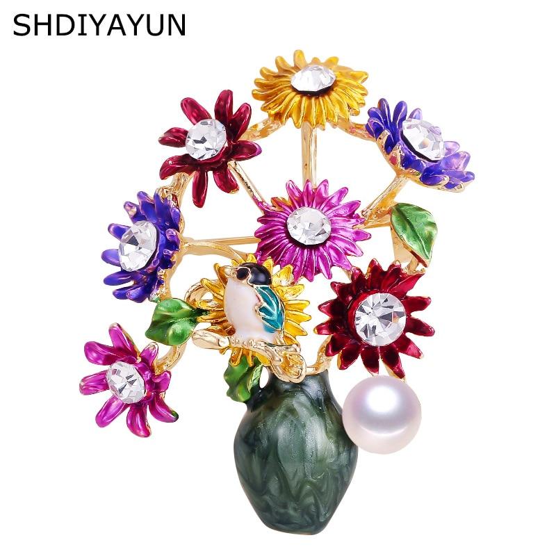 [해외]Shdiyayun 여성을위한 새로운 진주 브로치 꽃병 브로치 크리 에이 티브 에나멜 브로치 핀 브로치 자연 담수 진주 쥬얼리