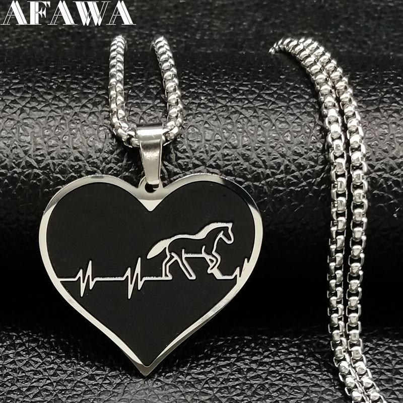 [해외]남자에 대 한 2018 패션 말 스테인리스 초커 목걸이 실버 컬러 블랙 하트 목걸이 쥬얼리 colgante hombre N18315/2018 Fashion Horse Stainless Steel Choker Necklace for Men Silver Color
