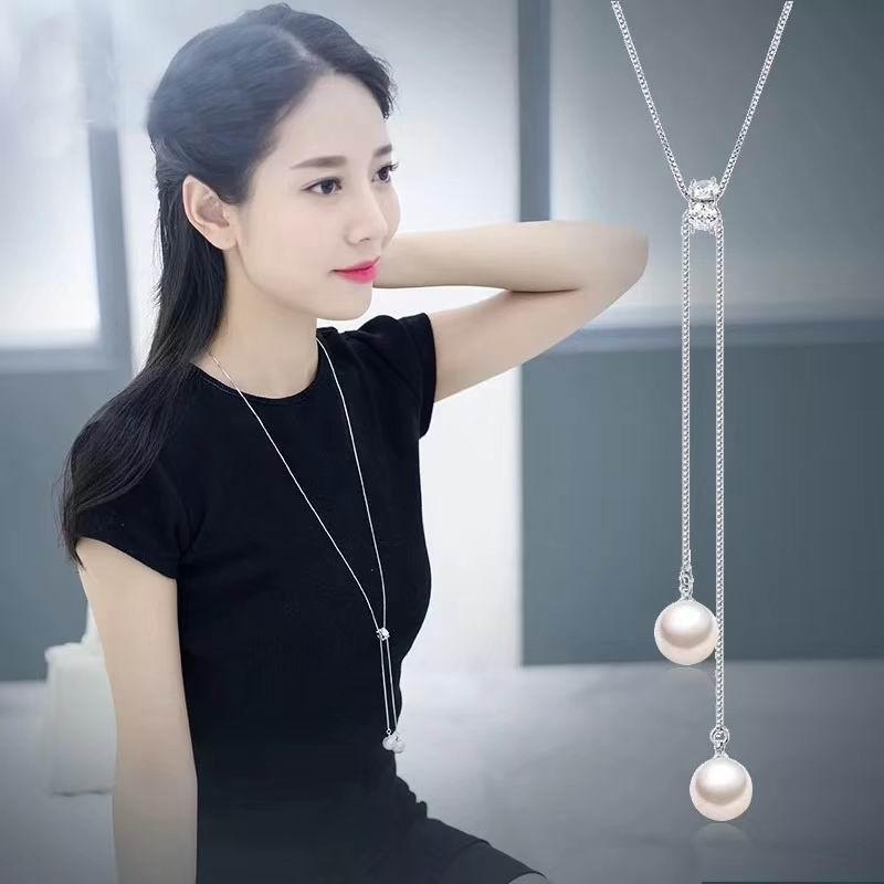 [해외]여자를간단한 롱 목걸이 패션 시뮬레이션 진주 쥬얼리 술 목걸이 & amp; 펜던트 Bijoux Femme Chain 2018 선물/Simple Long Necklace For Women Fashion Simulated Pearl Jewelry Tassel