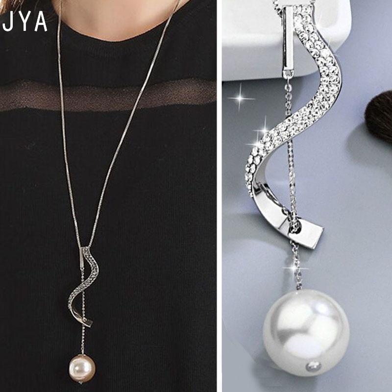 [해외]여자를JYA 진주 긴 펜던트 목걸이 패션 명품 여성 목걸이 보석 스웨터 체인 새로운 지르콘 Acsesorios 2018 가을/JYA Pearl Long Pendant Necklace for Women Fashion Luxury Female Necklace Jew